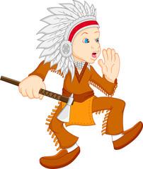 boy wearing american indian costume