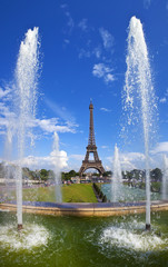 View of the Eiffel Tower from the Trocadero in Paris