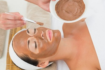 Peaceful brunette getting a mud treatment facial