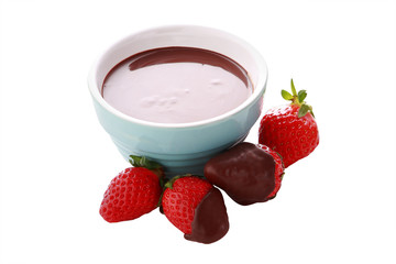 close up strawberry and chocolate sauce on white background