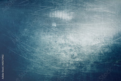 Foto op Aluminium Metal Blue scratched metal texture background