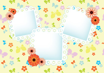 pastel background with butterflies and lace frames