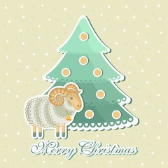 sheep around Christmas trees with snowflakes on background