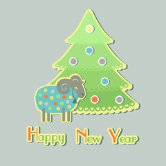 sheep around Christmas trees with the new year