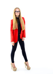 Attractive fashion girl with glasses, full length portrait over