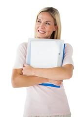 Happy mature student holding folders