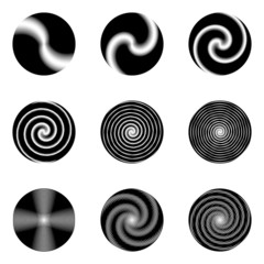 Set of monochrome circle geometric icons