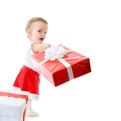 Holidays, baby girl make a present, christmas, birthday, new yea