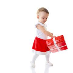 Holidays, baby girl dancing with presents, christmas, birthday,