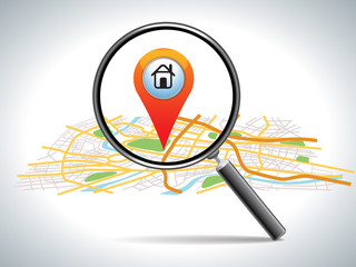 search for home on map location, vector illustration