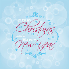 Merry Christmas and Happy New Year card design with bokeh effect