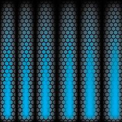 Metal Shine Hexagon Grid on blue Background. Vector Illustration