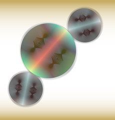 Abstract circular metallic objects with laser beams