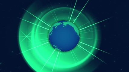 abstract loop motion background, globe and green light rotation