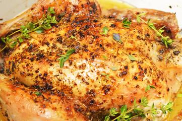 Appetizing and tasty roast chicken homemade baking.