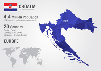 Croatia world map with a pixel diamond texture.