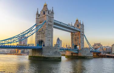 Famous Tower Bridge at sunset, London, England