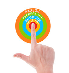 Perfect job search concept using hand poiting center of target.