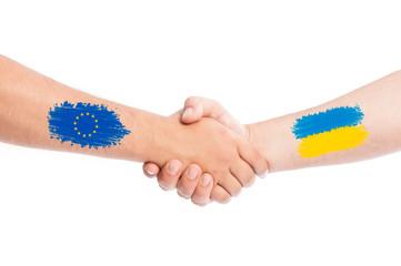 European Union and Ukraine shaking hands.