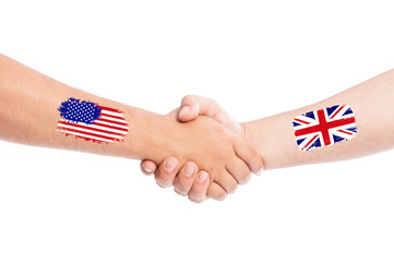 USA and Great Britain shaking hands.