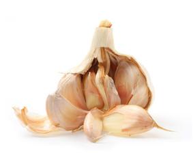 The Garlic (Allium sativum) on a white background.