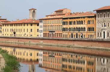 River Arno and city embankment. Pisa, Italy