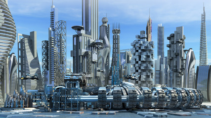 Science fiction city skyline with metallic skyscrapers