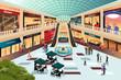 Scene inside shopping mall