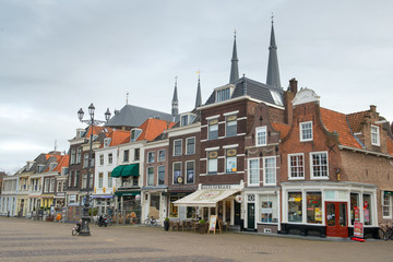 Old house on the Markt (central square) of Delft, Holland