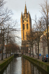 Old Church (Leaning tower) in Delft, Holland