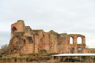 Ancient Roman baths ruins in Trier, Germany