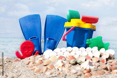 canvas print picture  flipper on a sandy beach