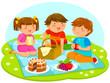 three cute kids having a picnic