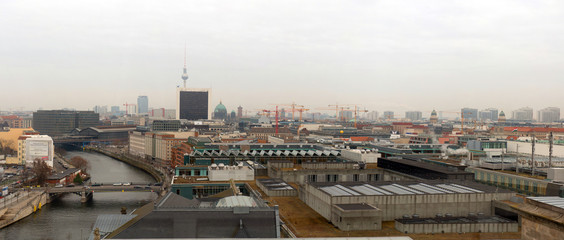 View of the Berlin center from Reichstag observation deck