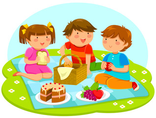 three cute kids having a picnic