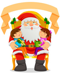 Santa Clause with kids on his lap and a blank banner on top