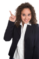 Empfehlung: Business Frau mit Zeigefinger zeigt auf Anzeige