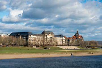 Ministry of Finance buildings over Elbe river in Dresden