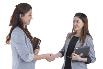 Two beauty businesswomen handshaking