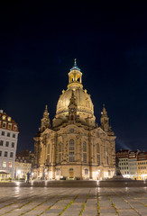 Frauenkirche (Church of Our Lady) at night. Dresden