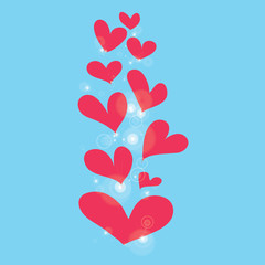 abstract pink heart on blue background