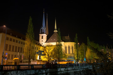 Notre-Dame Cathedral in Luxembourg at night