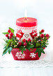 Christmas table decoration with candle
