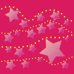 abstract pink star with yellow dot on pink background