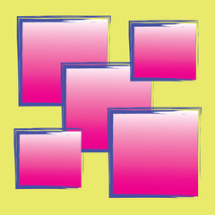 abstract pink strip blue square on yellow background