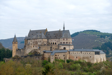 Medieval Castle Vianden in cloudy weather. Luxembourg