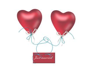 zwei rote Herzluftballons mit Just married Schild