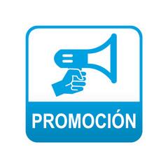 Etiqueta tipo app azul PROMOCION