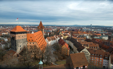 Aerial panorama of the Old Town in Nuremberg, Germany