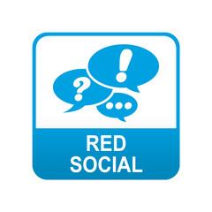 Etiqueta tipo app azul RED SOCIAL